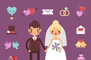 Bride groom wedding vector set