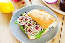 Tuna with Pomegranate on Baguette