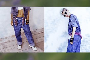 Fashion jeans model. Summer collage