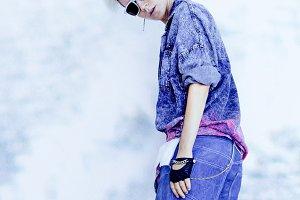Model in blue denim. fashion