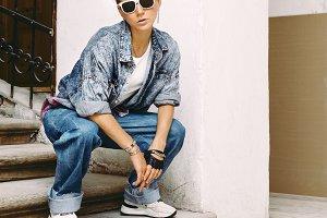 stylish denim clothing. Street Girl