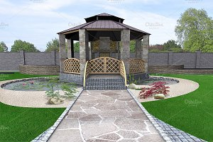 Koi pond and gazebo exterior