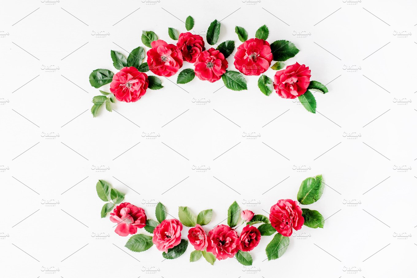Floral frame with red roses ~ Arts & Entertainment Photos ~ Creative ...