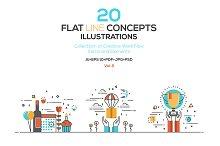 Set of Flat Line Color Illustration