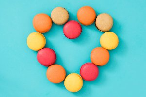 Colored macaroons with heart shape