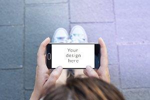 Modern smartphone landscape mockup