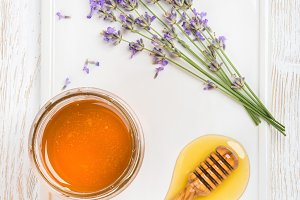Lavender honey in glass jar