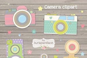 Retro vintage cute cameras clipart