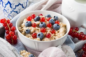 Porridge with berries. Closeup