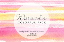watercolor colorful pack