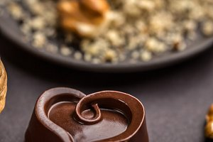 Heart shaped chocolate pralines