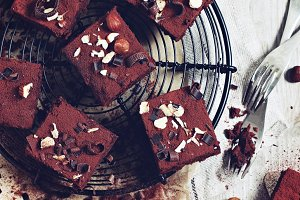 Brownies with nuts and chocolate