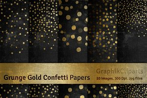 Grunge Gold Confetti Digital Papers