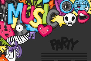 Music party kawaii backgrounds.