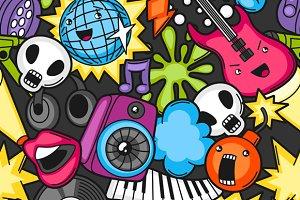 Music party kawaii seamless patterns