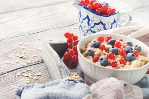 Healthy porridge in summer