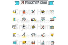 Flat line Education color icon set