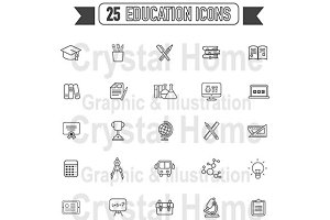Flat line Education black icon set