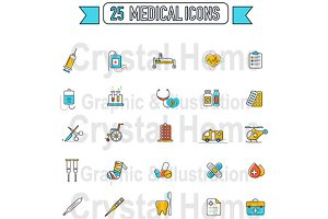 Flat line Medical color icon set