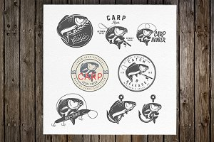 Carp fishing labels and emblems