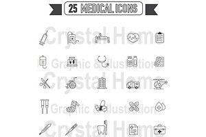 Flat line Medical black icon set