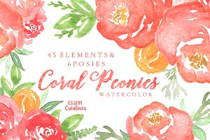 Coral Watercolor Peonies Clipart