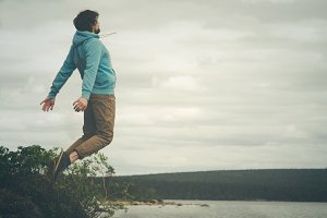 Young Man Flying levitation jumping