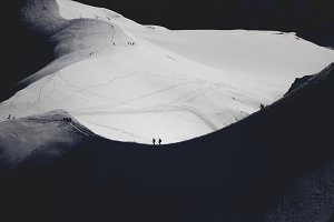 Mountaineers start their climb