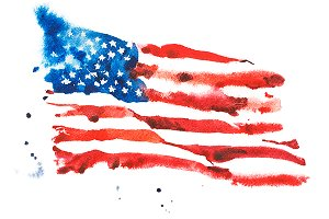 Flag of America. Watercolor