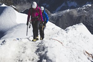 Mountaineers climbing in the Alps