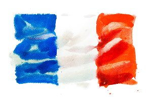 Flag of France. Watercolour