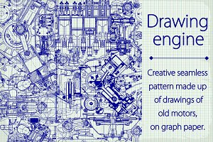 Drawing old engine seamless pattern