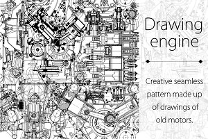 Drawing engine seamless pattern