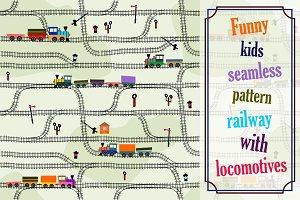 Seamless pattern kids railway