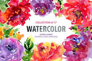 Bright watercolor flowers, 17 png