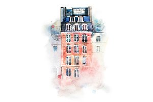 Cityscape watercolor drawing