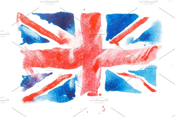British flag. Watercolour - Illustrations