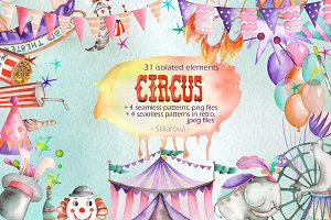 Circus, watercollor collection