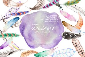 Watercolor Air Feathers set
