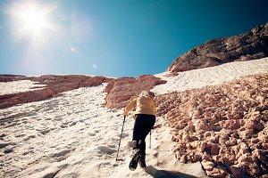 Woman Traveler climbing