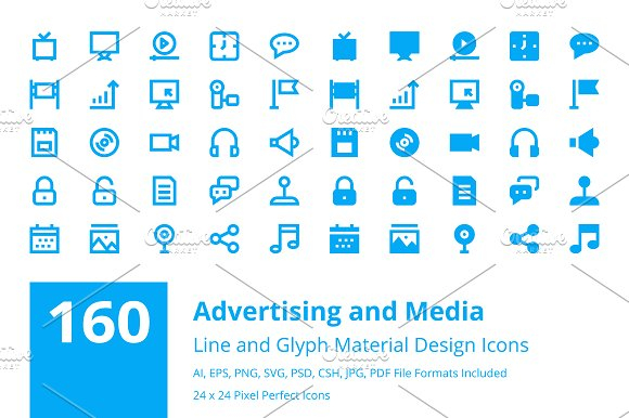 160 Advertising and Media Icons