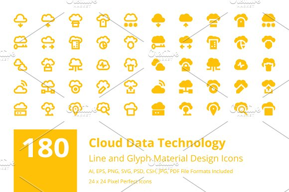 180 Cloud Data Technology Icons