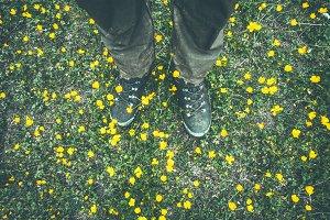 Man Feet trekking boots