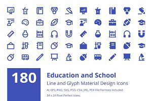 Material Education and School Icons