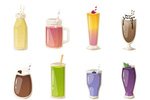 Smoothies drinks glasses vector set