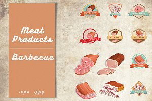 Beef and pork barbecue meat vector