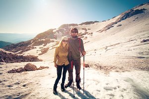 Couple Man and Woman in love hiking