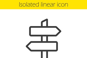Signpost linear icon. Vector