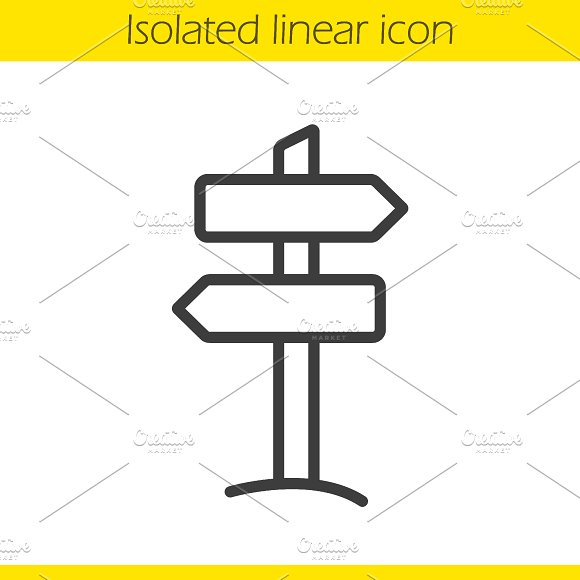 Signpost linear icon. Vector - Icons