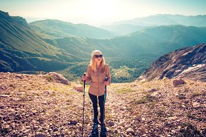 Young Woman hiking outdoor Travel